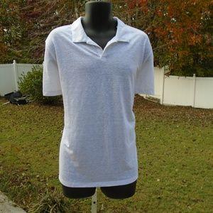 onia mens white xl polo shirt shaun linen blend